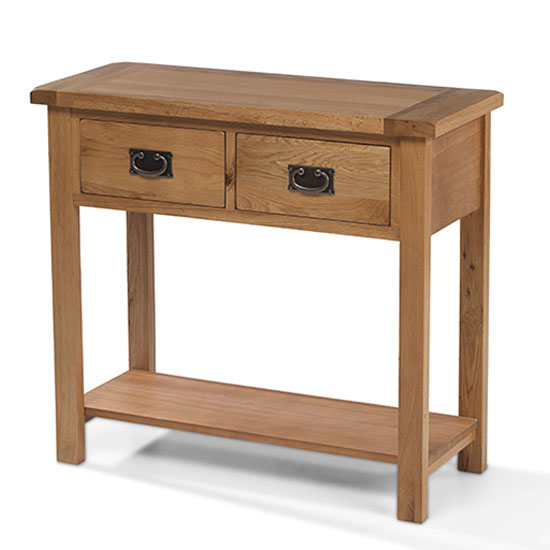 Velum Wooden Console Table In Chunky Solid Oak With 2 Drawers_1