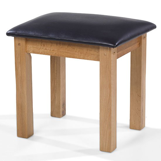 Velum Wooden Dressing Table Stool In Chunky Solid Oak_2