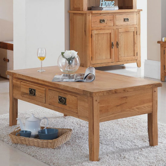 Velum Wooden Large Coffee Table In Chunky Solid Oak With Drawers_1