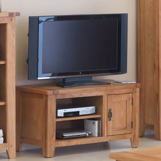 View Velum wooden small tv unit in chunky solid oak