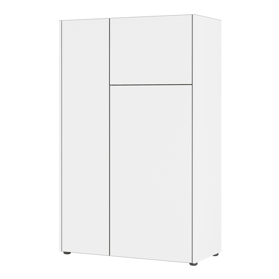 Veluva Highboard In White And Graphite With 3 Doors