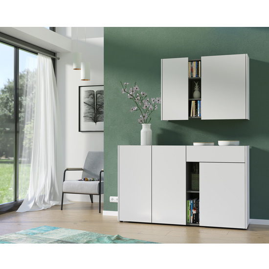 Veluva Sideboard In White And Graphite With 3 Doors And 1 Drawer_3