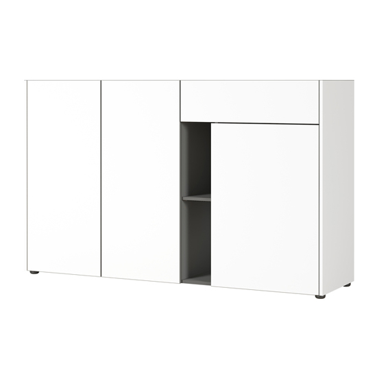 Veluva Sideboard In White And Graphite With 3 Doors And 1 Drawer