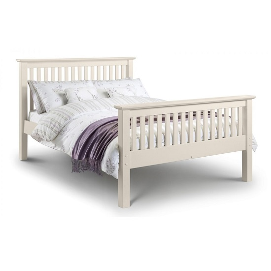 Velva Wooden King Size High Foot Bed In Stone White