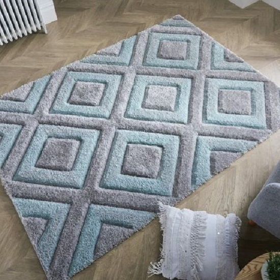 Velvet 3D Diamonds Silver And Duck Egg Rug