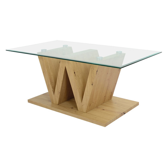 Vemo Clear Glass Coffee Table With Artisan Oak W-Type Base