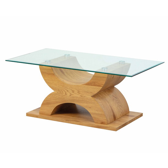 Product photograph showing Vemo Clear Glass Coffee Table With Wild Oak X-type Base