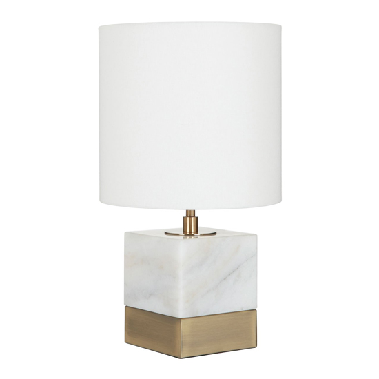 Vencro White Marble Accent Table Lamp With Cream Shade