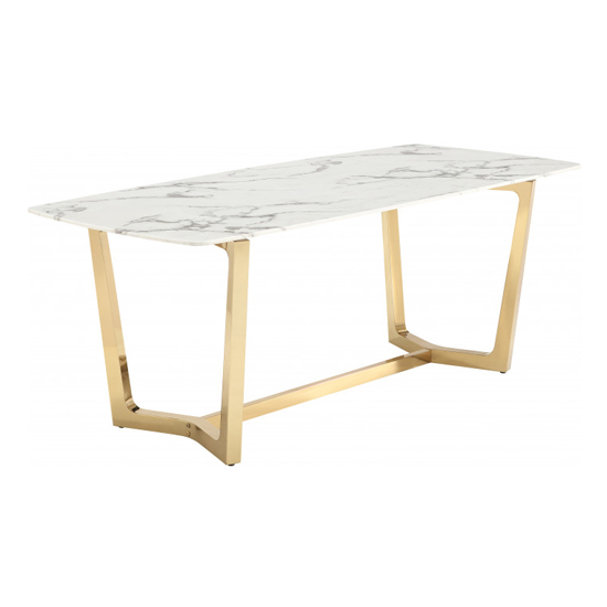 Veneta Rectangular White Marble Dining Table With Gold Legs_2