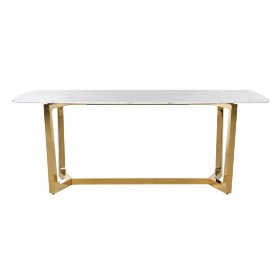 Veneta Rectangular White Marble Dining Table With Gold Legs_3