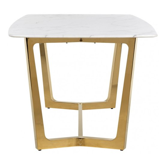 Veneta Rectangular White Marble Dining Table With Gold Legs_4