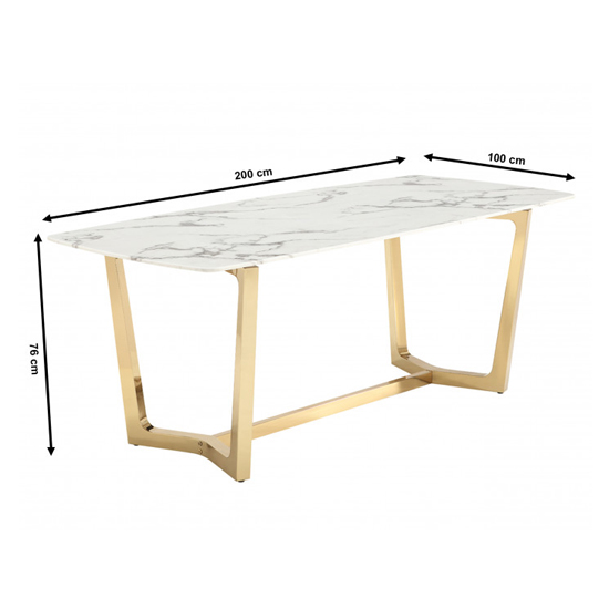 Veneta Rectangular White Marble Dining Table With Gold Legs_5