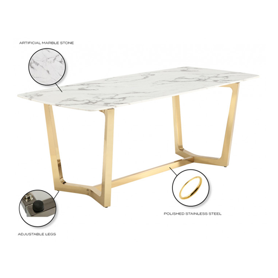 Veneta Rectangular White Marble Dining Table With Gold Legs_6