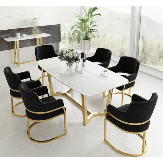 Veneta Rectangular White Marble Dining Table With Gold Legs_7