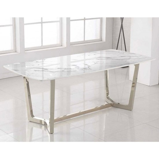 Veneta Rectangular White Marble Dining Table With Silver Legs