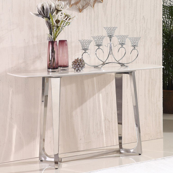 Veneta White Marble Console Table With Silver Steel Legs