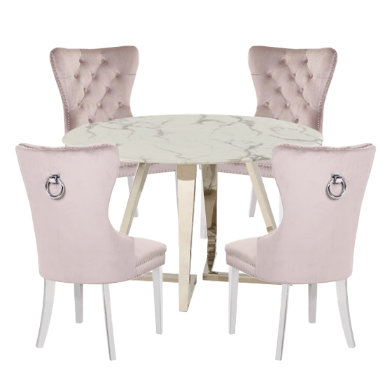 Veneta White Marble Dining Set With 4 Oxford Taupe Chairs
