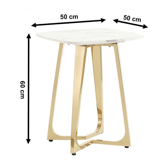 Veneta White Marble Side Table With Gold Stainless Steel Legs_2