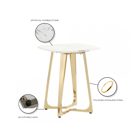 Veneta White Marble Side Table With Gold Stainless Steel Legs_3
