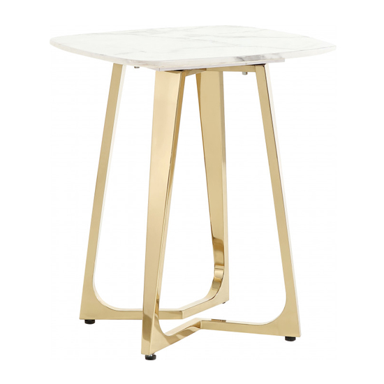 Veneta White Marble Side Table With Gold Stainless Steel Legs