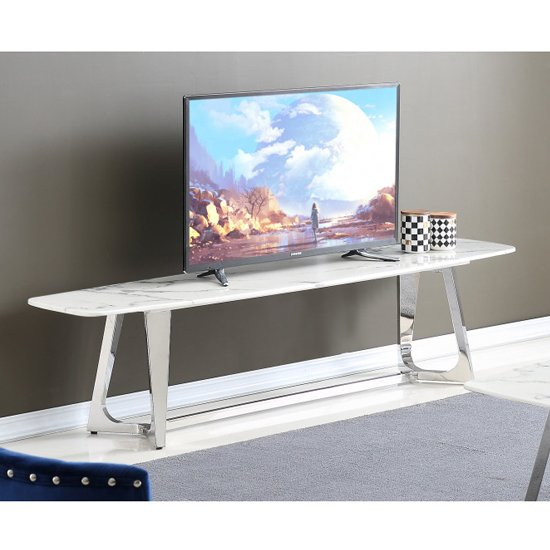 View Veneta white marble tv stand with silver stainless steel legs