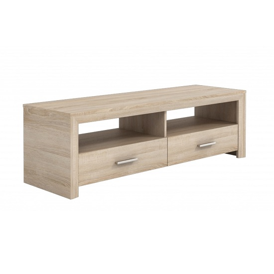 Veneto Wooden TV Stand In Brushed Oak With 2 Drawers
