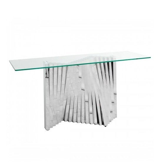 Venezia Glass Console Table In Clear With Stainless Steel Base