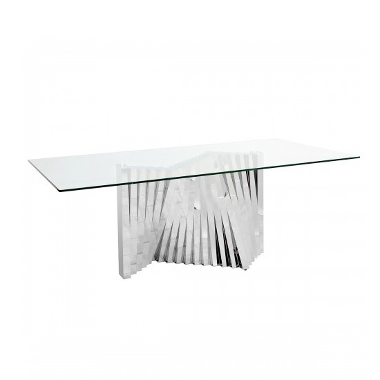 Venezia Glass Dining Table In Clear With Stainless Steel Base