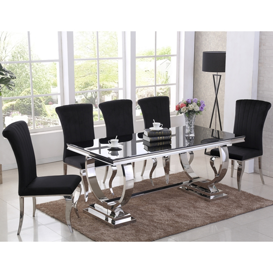 Venica Black Glass Dining Table With 6 Liyam Black Chairs