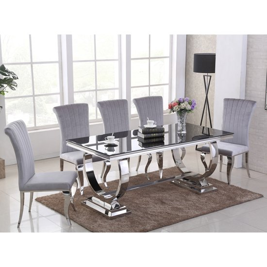 Venica Black Glass Dining Table With 6 Liyam Grey Chairs