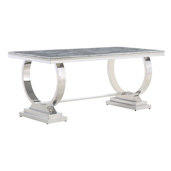 Venica Grey Marble Dining Table With 4 Liyam Grey Chairs_2