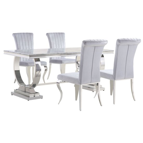 Venica Grey Marble Dining Table With 4 Liyam Grey Chairs_1