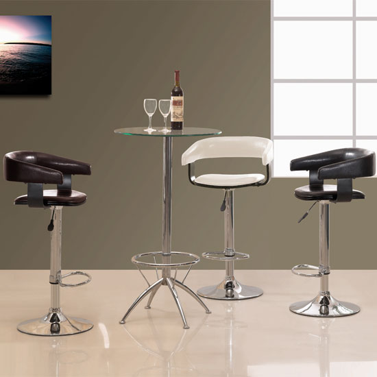 Venice Bar Stool In Faux Leather With Chrome Base