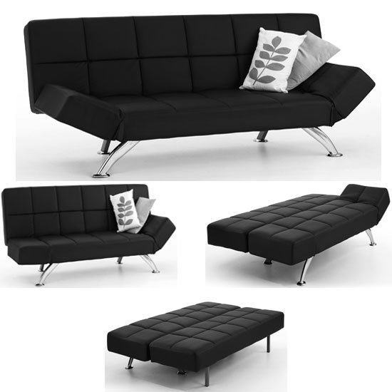 Venice Black Faux Leather Sofa Beds 4896 Furniture in