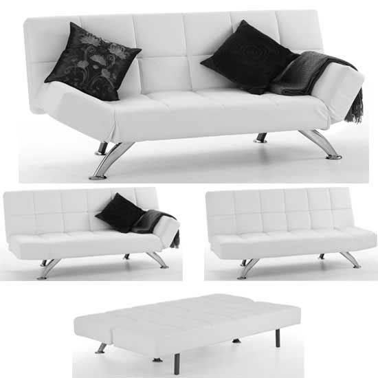 venice sofa bed in white faux leather with chrome legs. Black Bedroom Furniture Sets. Home Design Ideas
