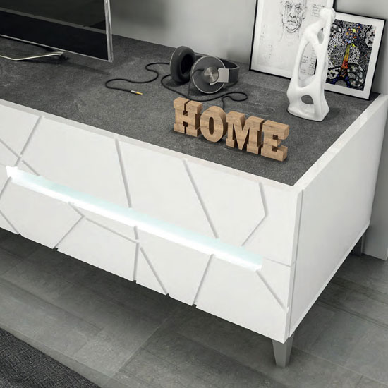 Venice Sideboard With Wall Mirror In White Gloss With Lighting_2