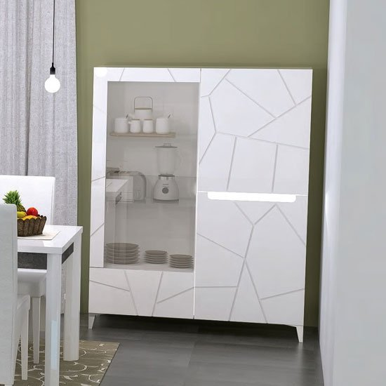 Venice Display Cabinet In White High Gloss Slate With Lighting