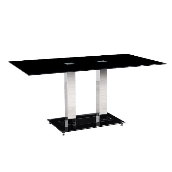 Holly Dining Table Rectangular In Black Glass With Chrome Legs