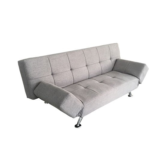 venice sofa bed in light grey fabric with chrome legs 29982. Black Bedroom Furniture Sets. Home Design Ideas