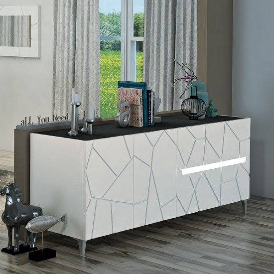 Venice Sideboard In White High Gloss And Slate With Lighting