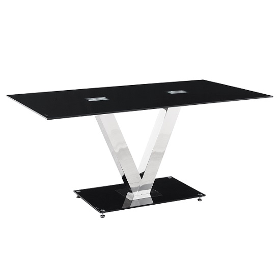 Derby Dining Table In Black Glass With V Shape Chrome Legs