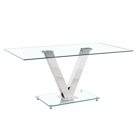 Derby Glass Dining Table In Clear With V Shape Chrome Legs