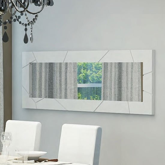 Venice Wall Mirror Rectangular In White High Gloss
