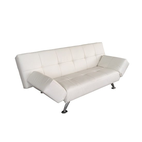 Venice Sofa Bed In White Faux Leather With Chrome Legs_6