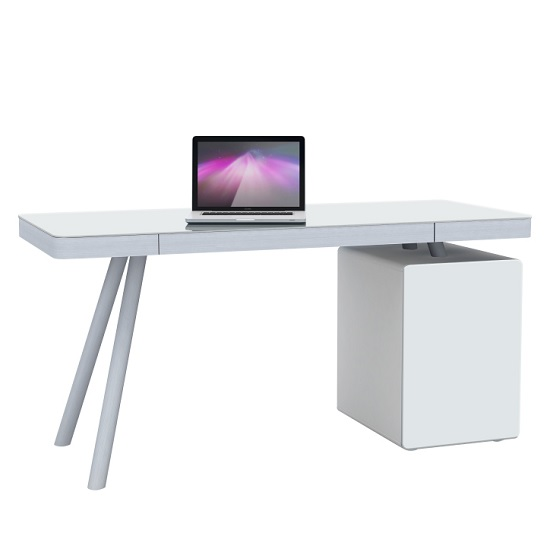 Ventura Computer Desk In White Glass And Aluminium_1