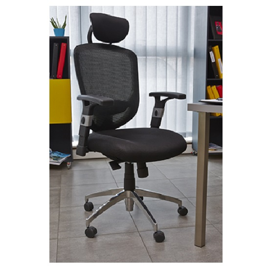 Venturi Home Office Chair In Black With Castors