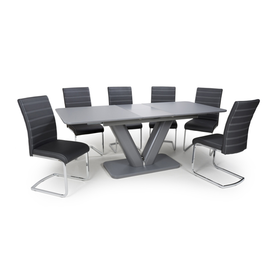 Venus Extending Glass Dining Table With 4 Callisto Black Chairs_1