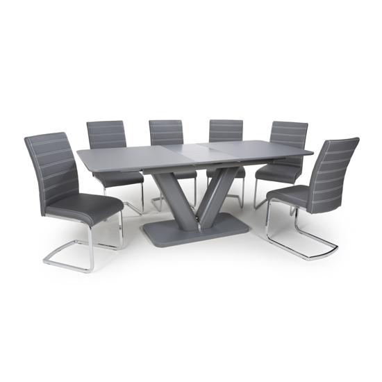 Venus Extending Glass Dining Table With 4 Callisto Grey Chairs