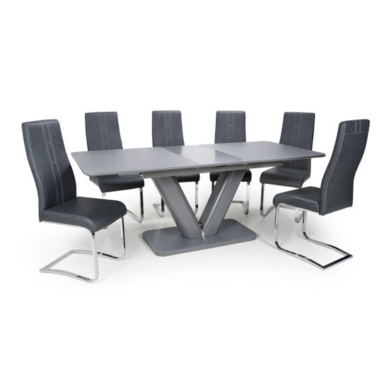 Venus Extending Glass Dining Table With 4 Nova Dark Grey Chairs