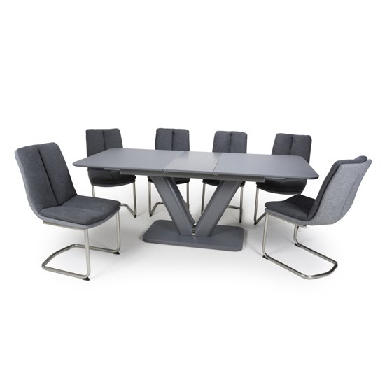 Venus Extending Glass Dining Table 4 Triton Dark Grey Chairs